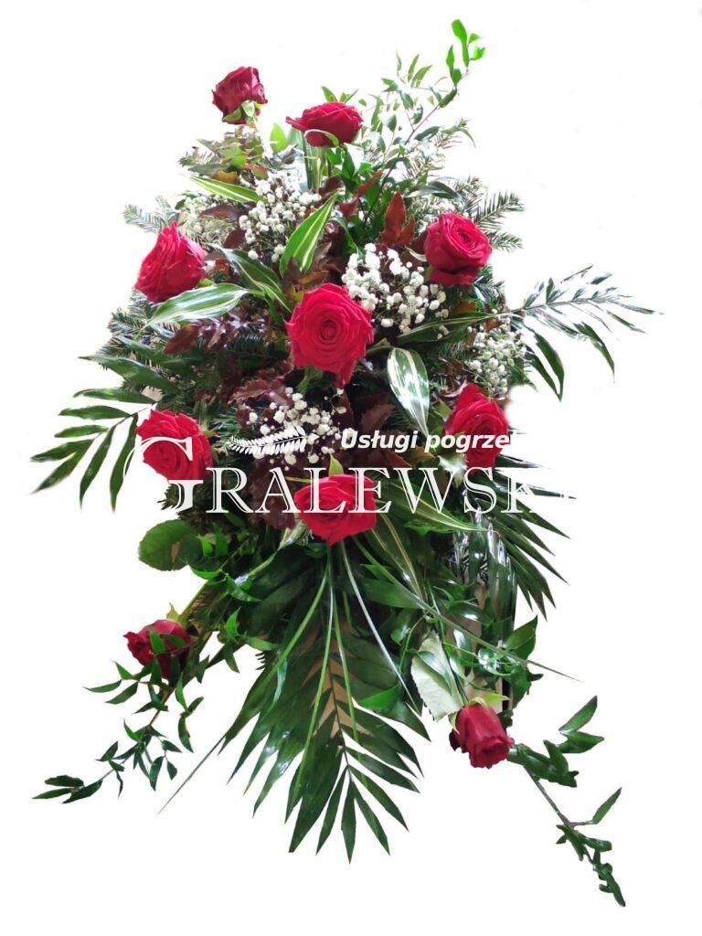 10. Stroik na trumnę 200,00 PLN róża czerwona