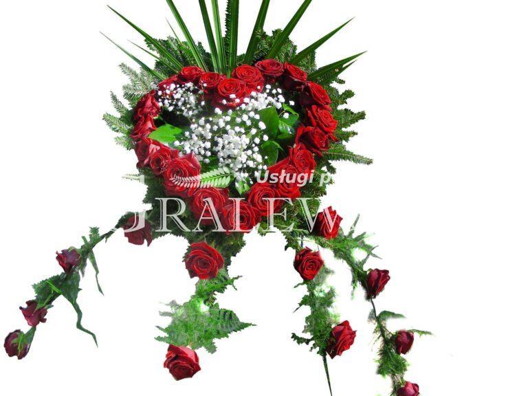 11. Stroik na trumnę 390,00 PLN róża czerwona
