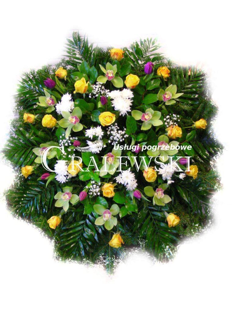 11. wieniec mały okrągły róża+storczyk+tulipan 390,00 PLN