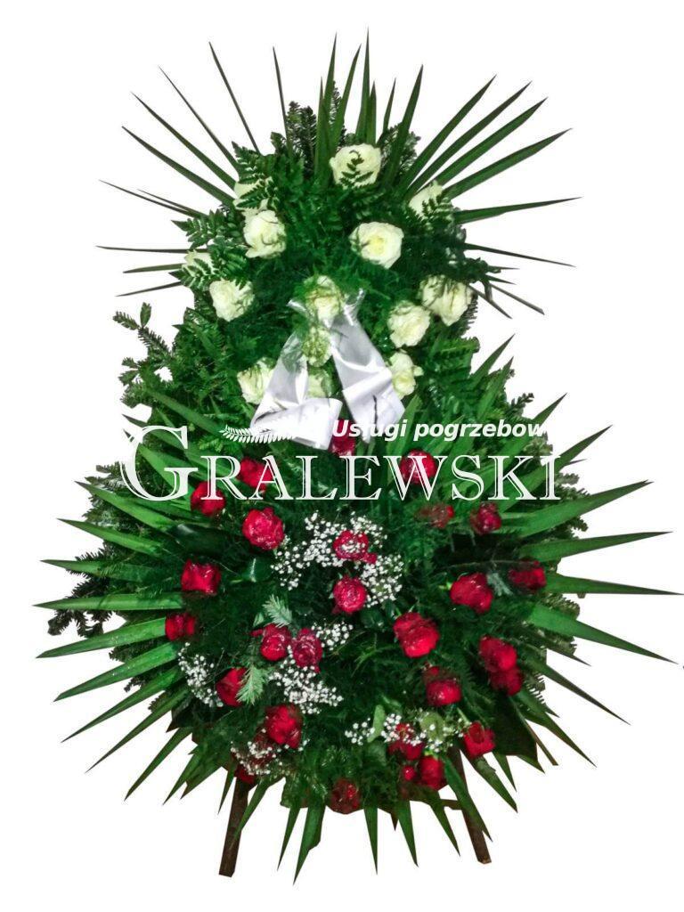 2. Wieniec mały róża czerwona i biała 350 zł