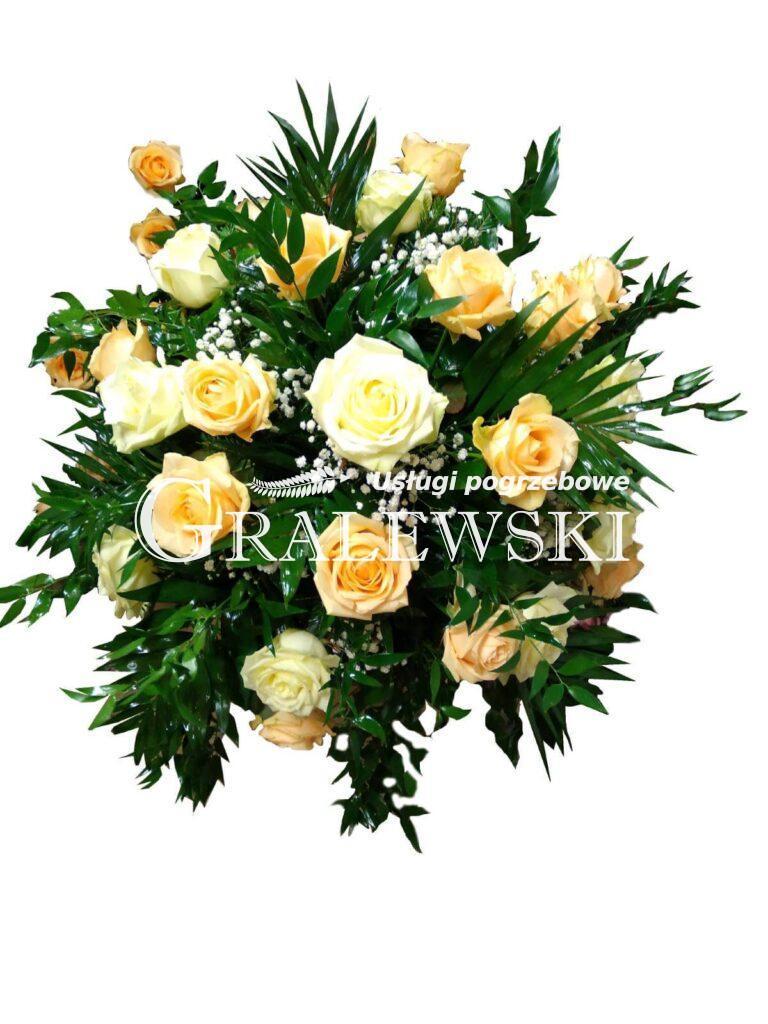 9. Stroik na trumnę 200,00 PLN róża żółta
